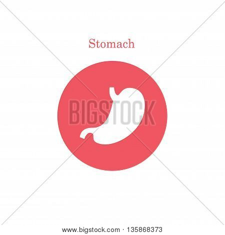 Flat vector human stomach icon. Internal abdomen organs