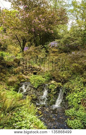 Beautiful Summer Landscape Image Of Brook Flowing Over Rocks In Waterfall In Countryside