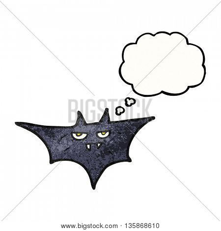 freehand drawn thought bubble textured cartoon halloween bat