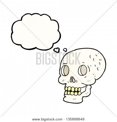 freehand drawn thought bubble textured cartoon halloween skull