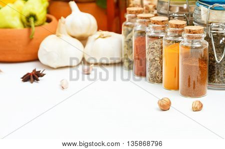 Spices And Herb For Cooking Background And Design,top View Spics And Herbs On White Background,spice