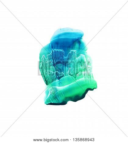 Hand drawn green and blue shape. Colorful artistic stains. Isolated on white background. Ink illustration. Monotype effect.