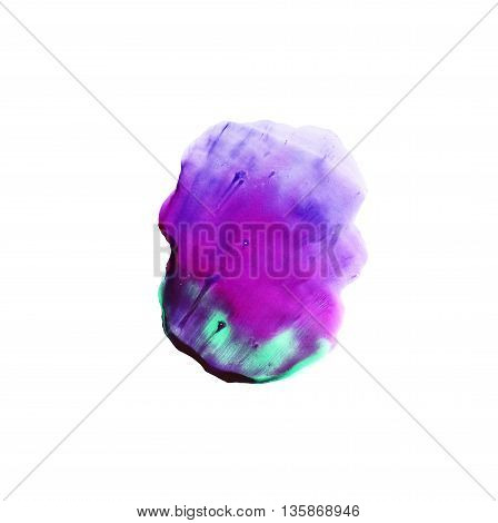 Ink illustration. Isolated on white background. Hand drawn color shape. Artistic watercolor element for your design. Monotype effect.