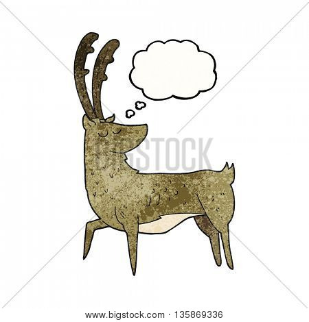 freehand drawn thought bubble textured cartoon manly stag