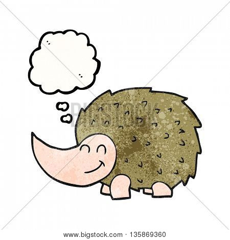 freehand drawn thought bubble textured cartoon hedgehog