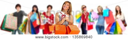 Group of happy shopping customers.
