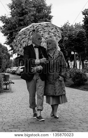 Elderly couple walking under an umbrella in the rain. Black and white. True love. Talking.