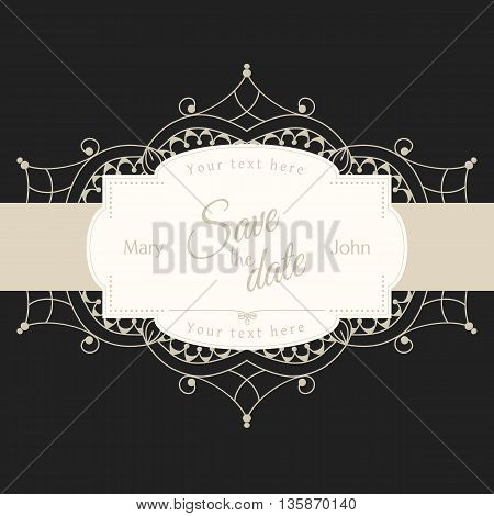 Romantic wedding invitation card with white lace motive on black background, ethnic or boho traditional motive, with text DSave the date which can be easy replaced, vector illustration, eps 10