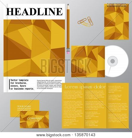 Vector template for brochures covers flyers or business reports. Golden mosaic. Triangles. Yellow.