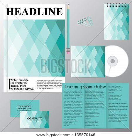 Vector template for brochures covers flyers or business reports. Marine theme. Rhombus. Blue tone. Figure. Mosaic.