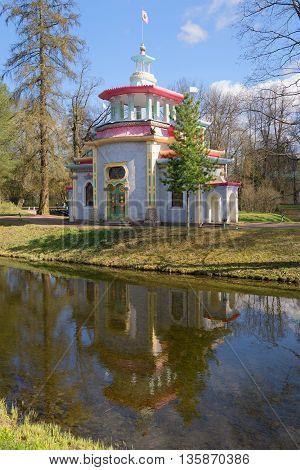SAINT PETERSBURG, RUSSIA - MAY 03, 2015: Chinese gazebo, sunny may day. Historical landmark of the Catherine Park, Tsarskoe Selo