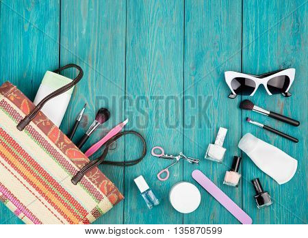 Travel Concept - Summer Women Set With Straw Bag, Sunglasses, Cosmetics Makeup And Essentials