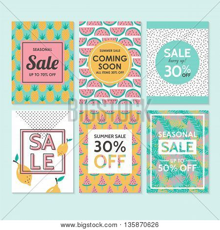 Modern sale banners template for social media and mobile apps. Creative sale banners with hand drawing fruit pattern design.