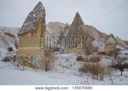 Gloomy january day in the mountains of Cappadocia. Turkey