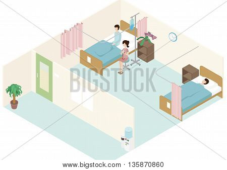 Patients are in a ward with family