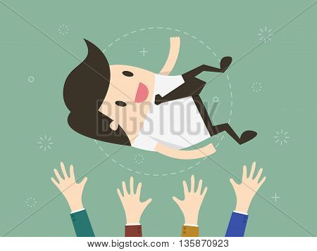 Success. businessman being thrown in the air. Flat design illustration