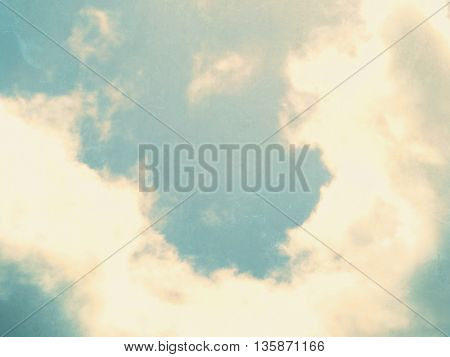 Retro sky background with clouds