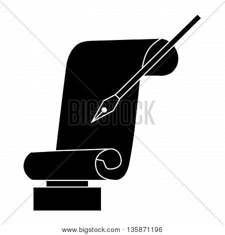 Best writer prize with scroll and pen icon in black simple style isolated on white background