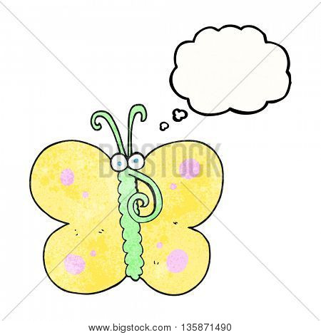 freehand drawn thought bubble textured cartoon butterfly
