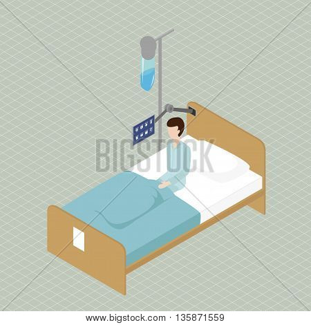 A patient sits on a bed in a ward