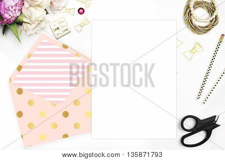Header website or Hero website Table view office items white background mock up woman desk. Polka gold pattern and blush stripe