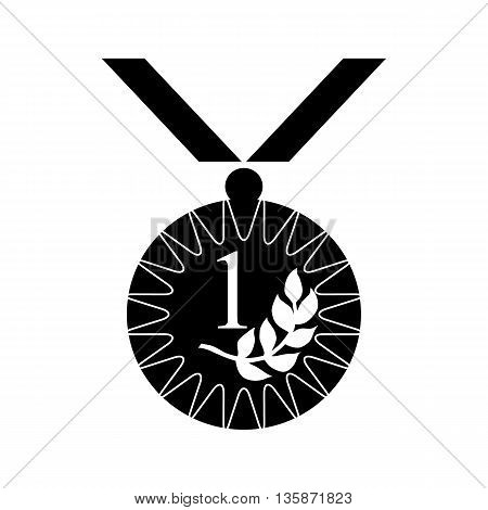 Gold medal with laurel branch icon in black simple style isolated on white background
