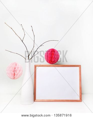 Frame photo with decoration: white vase paper ball. Mock up wedding sign. Frame mock up