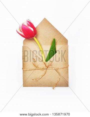 8, background, blank, brown, bundle, business, card, celebration, corporate, craft, day, decoration, decorative, design, envelop, envelope, flat, floral, flower, flowers, gift, happy, in, isolated, lay, letter, mail, march, mock, one, package, paper, pink