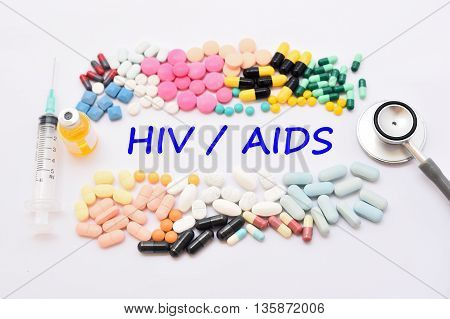 Various of drugs for AIDS treatment, medical concept