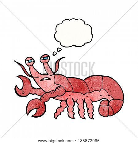 freehand drawn thought bubble textured cartoon lobster