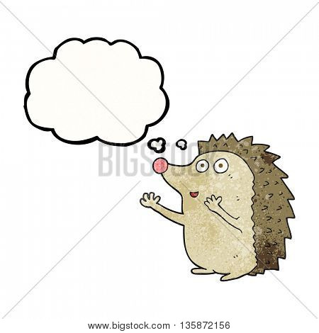 freehand drawn thought bubble textured cartoon cute hedgehog