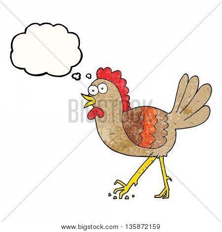 freehand drawn thought bubble textured cartoon chicken