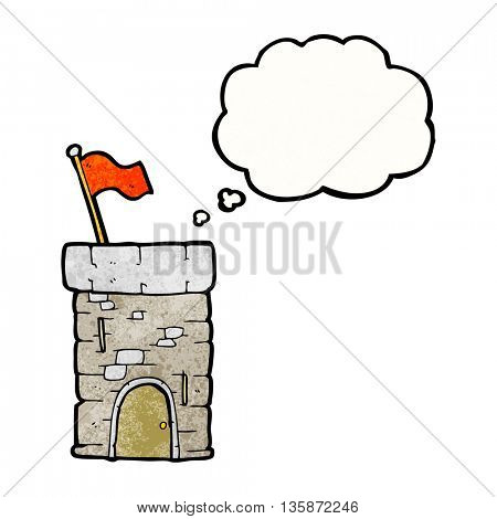 freehand drawn thought bubble textured cartoon old castle tower