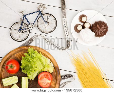 Choice Of Food: Diet, Vegetables And Sports Or Cake, Candy And Pasta