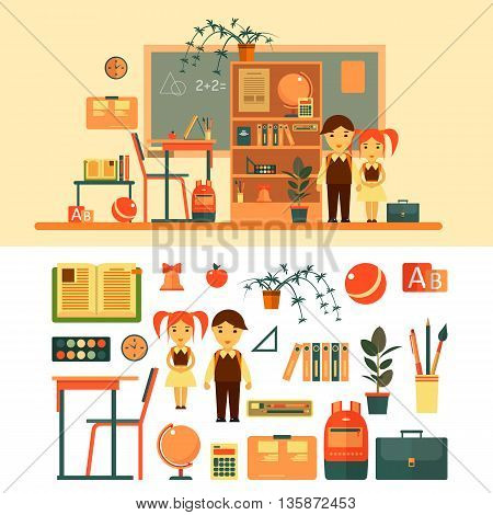 Vector set of school related objects isolated on white background. School icons in flat style, books, pupils, blackboard, shelf, pen, school desk. School classroom with chalkboard and desk.
