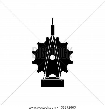 Trophy sign with compass and cogwheel icon in black simple style isolated on white background
