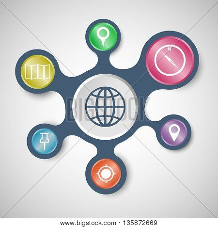 Map infographic templates with connected metaballs, stock vector