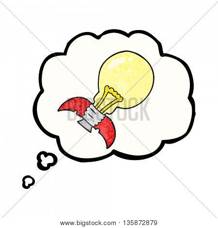 freehand drawn thought bubble textured cartoon lightbulb rocket ship
