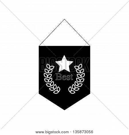 Pennant with star and laurel branch icon in black simple style isolated on white background