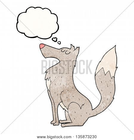 freehand drawn thought bubble textured cartoon wolf