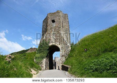 medieval ruins of Dover castle, landmark in England