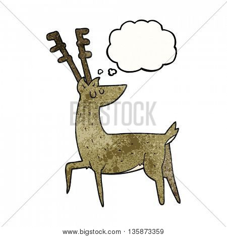 freehand drawn thought bubble textured cartoon stag