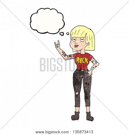 freehand drawn thought bubble textured cartoon rock girl
