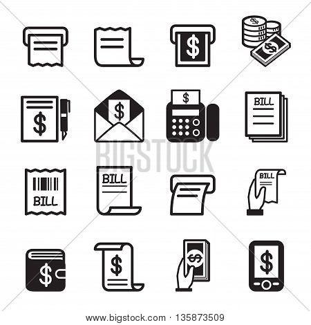 Bill money income icons set Vector illustration Graphic design