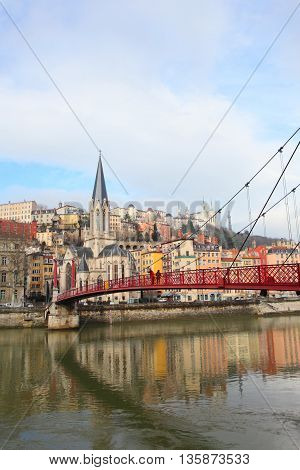 Lyon cityscape on Saone river in France