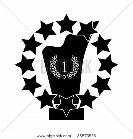 Best award sign with laurel wreath and stars icon in black simple style isolated on white background