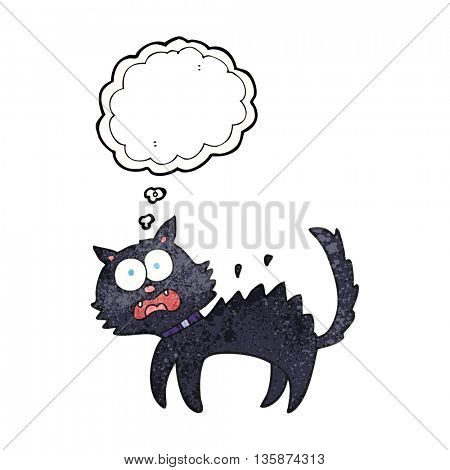 freehand drawn thought bubble textured cartoon scared black cat