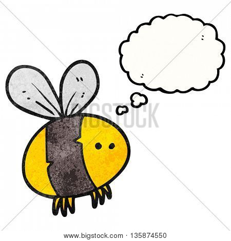 freehand drawn thought bubble textured cartoon bee
