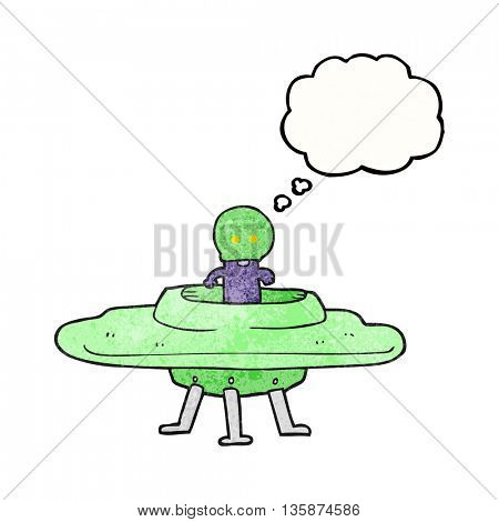 freehand drawn thought bubble textured cartoon flying saucer