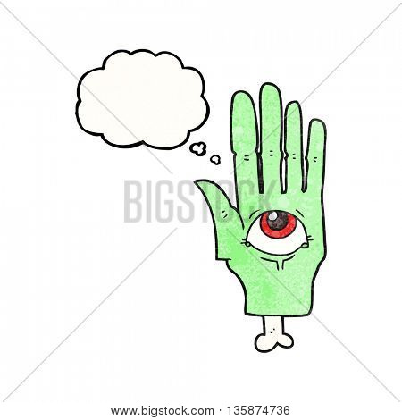 freehand drawn thought bubble textured cartoon spooky eye hand